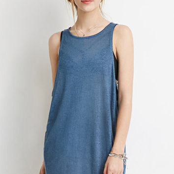 Blue Sleeveless A-line Mini Dress