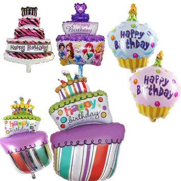 Foil Balloons Happy Birthday party Decorations kids air Balls inflatable Ballons lovely Birthday Cake Party balloons