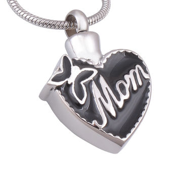"""""""Mom in Heart"""" Cremation Urn Necklace Ashes Urn Pendant Mother's Day Gift Jewelry"""