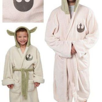 Star Wars Lucasfilm Yoda Robe Cosplay Costume Jedi Fleece Hooded BathRobe Gown Adult Kids Child Pajamas Sleeping Wear