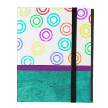 modern abstract colorful circles on teal blue iPad cover