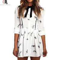 White Long Sleeve Bowknot Tie Neck Mini Fall Dress A Line Animal Dragonfly Prints Casual Skater Dresses 2016 Spring Women New