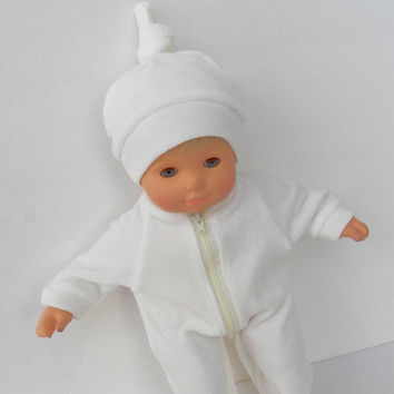 """American Girl Bitty Baby Clothes 15"""" Doll Clothes Boy Ivory Velour Zip Up Feetie Pajamas Pjs Sleeper Hat (cap) Tie top"""