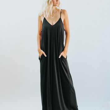 HC Zenana Strap Black Maxi Dress
