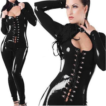 Hot Sexy Catsuit Womens Bodysuits Latex Jumpsuits Rubber Flexibele Leather Long Sleeves Leotard Womens Jumpsuits W7743