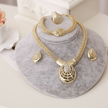 ZOSHI Women Italy Dubai Crystal Necklace Earrings Gold Plated Jewelry Sets Wedding Party Bridal Accessories Costume jewelry