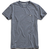 Striped Button Pocket Tee in Naval Blue