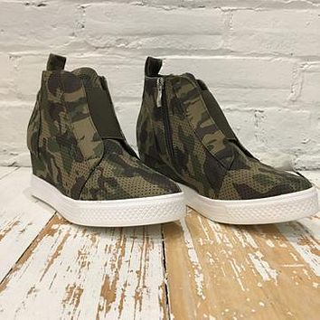 Zoey Camouflage Wedge Sneakers