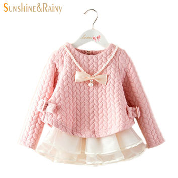 Spring Winter Kids Brand Dresses Baby Girls tutu Dress Elegant Princess elsa Dress Warm High Quality Girls Clothes 2~6 T