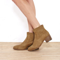 Faux Leather Western Bootie With Wood Heel | Wet Seal