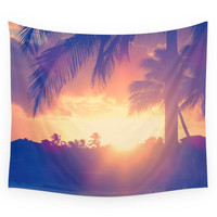 Society6 Hawaii Sunset Palm Tree Wall Tapestry