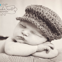 Newborn Baby  Boys Driver Hat Flat Cap crochet hat Photo Prop Hat Russet Red - Ready to Ship