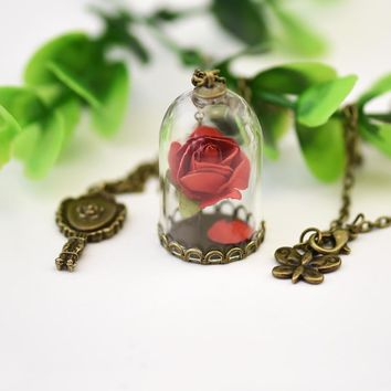 Women Red Rose Dried Flower Necklace