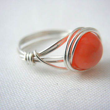 Coral Argentium Sterling Silver Wire Wrapped Ring