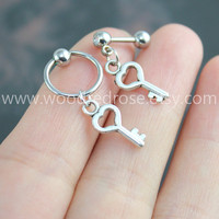 Tiny Silver Key Cartilage Hoop Silver,Heart Key Tragus Helix Piercing,Key Cartilage Hoop earrings,Key Cartilage Hoop Earring