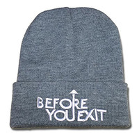 HAIHONG Before You Exit Band Logo Beanie Fashion Unisex Embroidery Beanies Skullies Knitted Hats Skull Caps - Grey