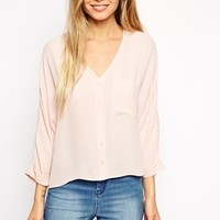 ASOS Long Sleeve V Neck Blouse