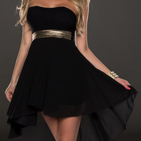 Black Strapless Midi Chiffon Dress