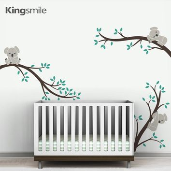 Cute 3 Koalas Tree Branches Nursery Wall Art Decals Removable DIY Vinyl Wall Stickers Poster for Baby Kids Rooms Home Decor