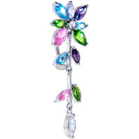 Multicolor Jeweled FLOWERING IVY Top Dangle Belly Ring | Body Candy Body Jewelry