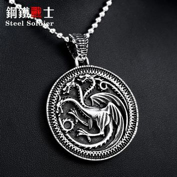Steel soldier a song of ice and fire style pendant Game of Throne necklace pendant men personality jewelry