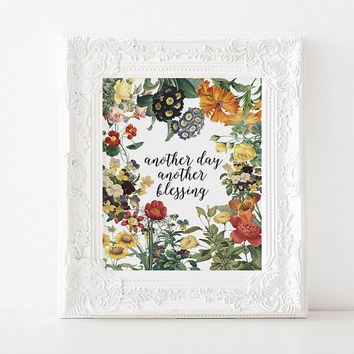 "Bible verse Floral Bible ""Another day Another blessing"" Inspirational poster Wall decor Home art Room poster Typography quote Motivational"