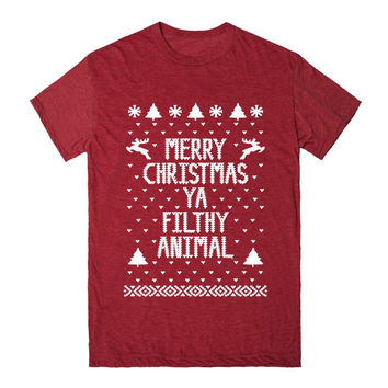 Merry Christmas Ya Filthy Animal Ht Unisex Track Tee Red
