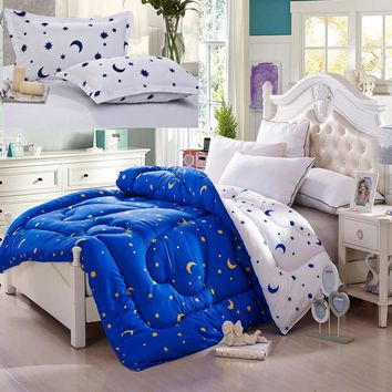 Star and Moon comforter set 3pcs thicken winner comforter+2pcs pilowcase comforter 150*200, 180*210, 200*230, 220*240 bedspread