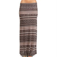 SALE-TanBlack Tribal Print Maxi Skirt