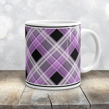 Alternative Purple Plaid Mug - Purple White Black Plaid Pattern - 11oz or 15oz - Made to Order
