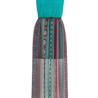 Crochet Top Belted Chiffon Maxi Dress - Multi