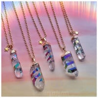"Rainbow Quartz Crystal titanium flame aura spiral, on 22"" gold chain"