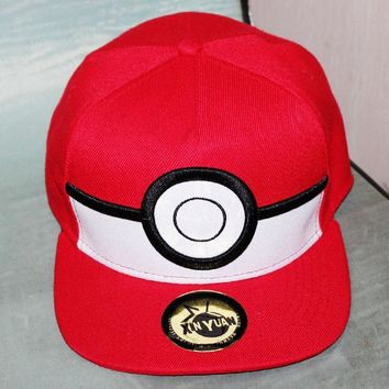 Cartoon Pokemon ball Cosplay Baseball Cap Red Pikachu Novelty Anime Poke Ball ladies men Hat charm Costume cap