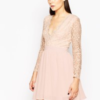 Club L Skater Dress with Lace Scallop Plunge