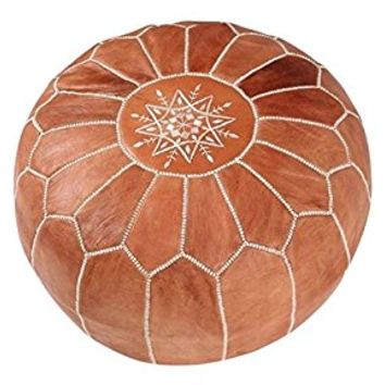 maisonmarrakech | Beautiful Handmade Real Moroccan Tan Brown Leather Footstool Pouf from Marrakech | Colour Tan Brown with White Stitching | Delivered unstuffed