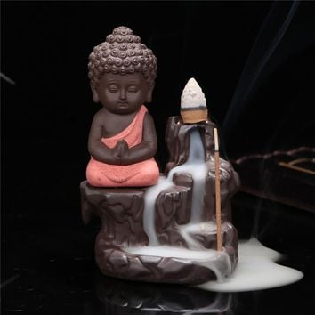 New chinese buddha ceramic incense burner censer holder set with joss sticks home living room bedroom office decor decoration