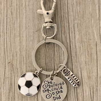 Soccer Zipper Pull Keychain - She Believed She Could