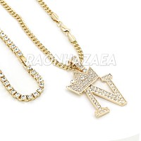Iced Out Crown N Initial Pendant Necklace Set