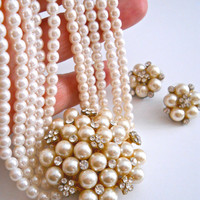Glass Pearl Medallion Necklace-Earrings Set, Rhinestones, 5 Multi Strand, Post Earrings, Vintage