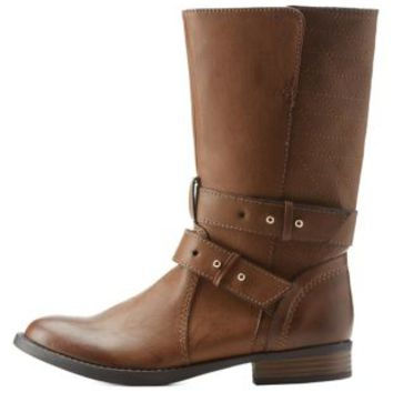 Cognac Quilted Strappy Mid Calf Boots by Charlotte Russe