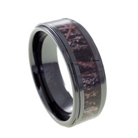 Camouflage black ceramic wedding band for Man