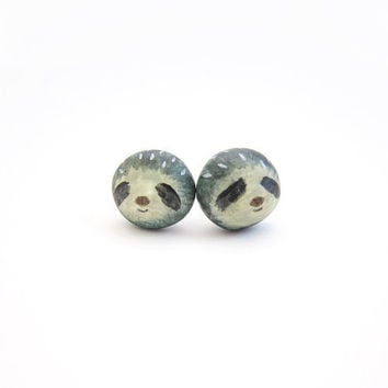 Miniature sloth earrings by Openspring on Etsy