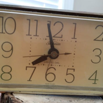 Vintage Sunbeam Electric Alarm Clock Great Decor Brown Gold Retro Guy Fathers Day Best Man Groomsman Gift