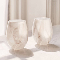 18 oz Marble Stemless Wine Glass - Set Of 2 | Urban Outfitters