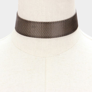 "12"" mesh net choker collar Necklace 1.10"" wide"