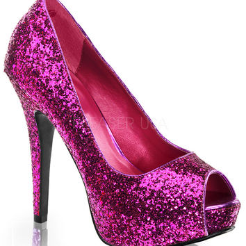 Twinkle Fuchsia Sparkle Slip On Pumps