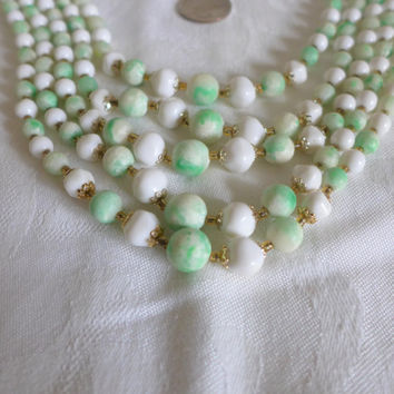 Vintage Glass Bead 5 Five Strand Necklace Green White Gold 1960's 60's
