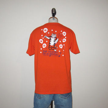 Vintage 80's University Of CLEMSON TIGERS College Football Graphic Orange 50/50 T-Shirt - Size Medium to Large