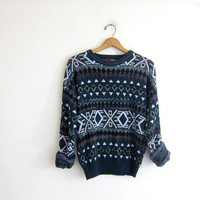 Vintage retro 80s sweater. snowflake tribal sweater. Geometric pullover. retro top.