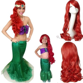 THE LITTLE MERMAID ARIEL Curly wave red wigs cosplay wig anime peluca hair Top korean hairnet kanekalon cabelo synthetic hair